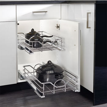 Rev-A-Shelf Premiere Pull Out Wire Baskets with Soft Close Slides, Chrome
