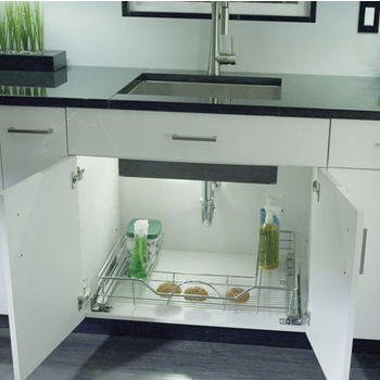 Rev-A-Shelf Pull Out Undersink U-Shaped Wire Basket with Soft Close Slides