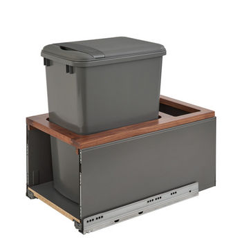 Rev-A-Shelf Single 35 Quart (8.75 Gallon) Metal LEGRABOX Trash Pullout, Orion Gray Can with Walnut Insert, Bottom Mount with BLUMOTION Full Extension Soft-Close Slides