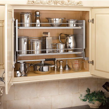 Drop down kitchen cabinet shelves