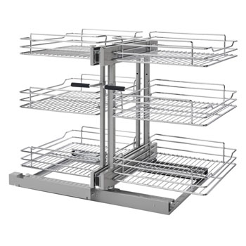 Rev-A-Shelf Pullout Soft-Close 3-Tier Wire Pull-Slide-Pull Blind Corner Organizer
