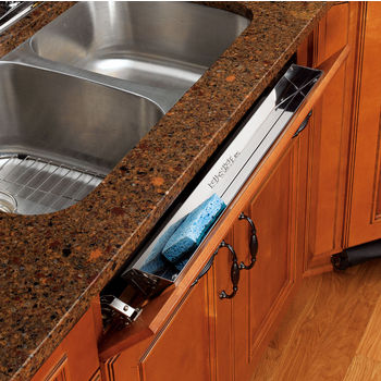 rev a shelf 25 w kitchen and vanity sink front tip out stainless steel tray - Kitchen Sink Drawer