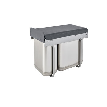 Rev A Shelf Double Bin Stainless Steel Sink Base Pull Out Waste Container Min Cabinet Opening 10 3 8 Wide