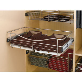 Rev A Shelf Closet Or Kitchen Cabinet Pull Out Wire Basket Chrome 16 D X 7 H Also Available In Other Sizes