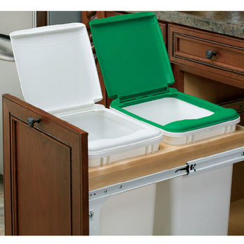 "Rev-A-Shelf Double Pull-Out Waste Bins for 15"" and 18"" Frameless Cabinets"