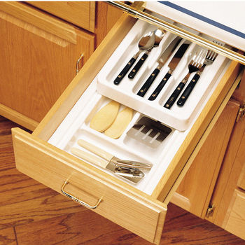 drawer organizers rev a shelf 2 tier insert cutlery kitchen drawer organizer with half depth. Black Bedroom Furniture Sets. Home Design Ideas