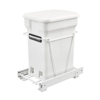 Rev-A-Shelf Single White Compo+ Bin Pull-Out with Rear Storage, White Wire Bottom Mount with Ball Bearing Slides