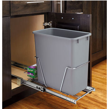 20 Qt Pullout Waste Container w/ Rear Basket