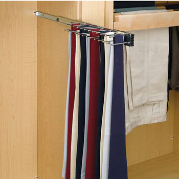 Rev A Shelf Telescopic Side Mount Tie Rack, Chrome, Multiple Depths  Available
