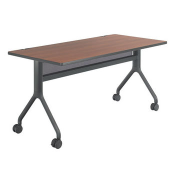 "Safco Rumba™ Rectangle Table, 60"" x 30"", Cherry Top/Black Base"