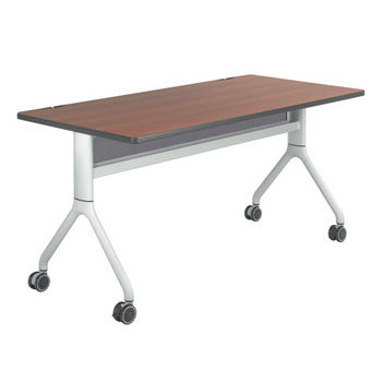 "Safco Rumba™ Rectangle Table, 60"" x 30"", Cherry Top/Metallic Gray Base"