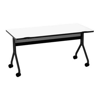 "Safco Rumba™ Rectangle Table, 60"" x 30"", Designer White Top/Black Base"