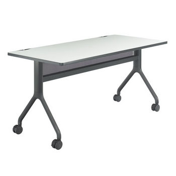 "Safco Rumba™ Rectangle Table, 60"" x 30"", Gray Top/Black Base"
