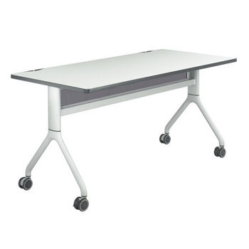 "Safco Rumba™ Rectangle Table, 60"" x 30"", Gray Top/Metallic Gray Base"