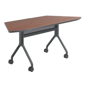 """Safco Rumba Table, Trapezoid, Cherry Tabletop & Black Base, 72""""W x 30""""D x 29-1/2""""H"""