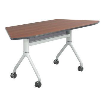 "Safco Rumba Table, Trapezoid, Cherry Tabletop & Metallic Gray Base, 72""W x 30""D x 29-1/2""H"