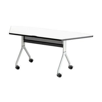 "Safco Rumba Table, Trapezoid, Designer White Tabletop & Metallic Gray Base, 72""W x 30""D x 29-1/2""H"