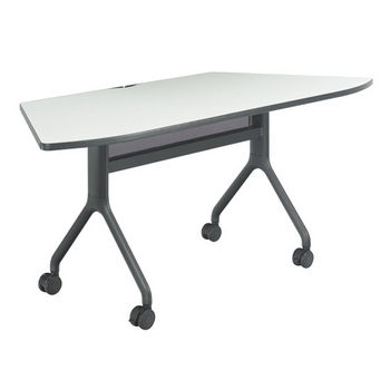 """Safco Rumba Table, Trapezoid, Gray Tabletop & Black Base, 72""""W x 30""""D x 29-1/2""""H"""