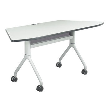 "Safco Rumba Table, Trapezoid, Gray Tabletop & Metallic Gray Base, 72""W x 30""D x 29-1/2""H"