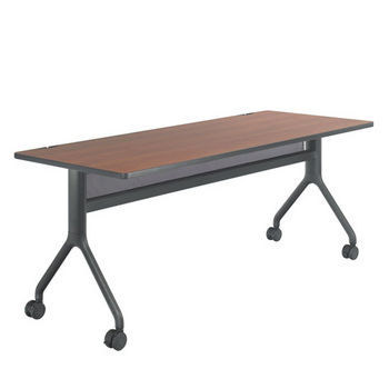 "Safco Rumba™ Rectangle Table, 72"" x 30"", Cherry Top/Black Base"