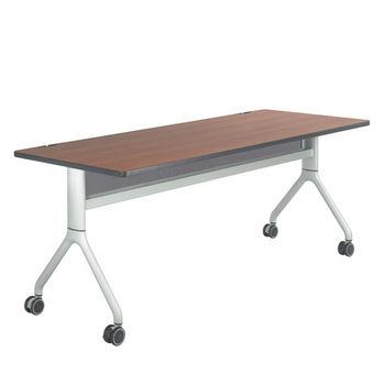 "Safco Rumba™ Rectangle Table, 72"" x 30"", Cherry Top/Metallic Gray Base"
