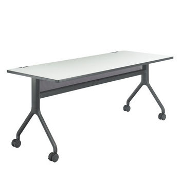 "Safco Rumba™ Rectangle Table, 72"" x 30"", Gray Top/Black Base"