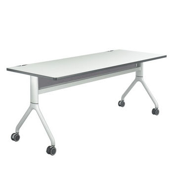 "Safco Rumba™ Rectangle Table, 72"" x 30"", Gray Top/Metallic Gray Base"