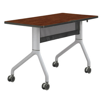 "Safco Rumba™ Rectangle Table, 48"" x 24"", Cherry Top/Metallic Gray Base"