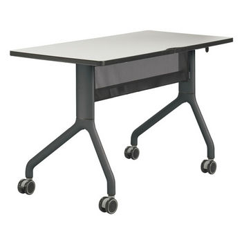 "Safco Rumba™ Rectangle Table, 48"" x 24"", Gray Top/Black Base"