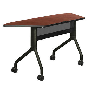 """Safco Rumba Table, Trapezoid, Cherry Tabletop & Black Base, 60""""W x 24""""D x 29-1/2""""H"""