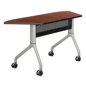 "Safco Rumba Table, Trapezoid, Cherry Tabletop & Metallic Gray Base, 60""W x 24""D x 29-1/2""H"