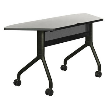 """Safco Rumba Table, Trapezoid, Gray Tabletop & Black Base, 60""""W x 24""""D x 29-1/2""""H"""