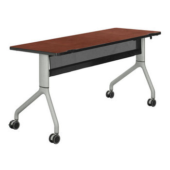 "Safco Rumba™ Rectangle Table, 60"" x 24"", Cherry Top/Metallic Gray Base"