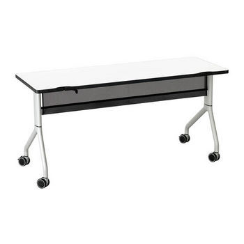 "Safco Rumba™ Rectangle Table, 60"" x 24"", Designer White Top/Metallic Gray Base"