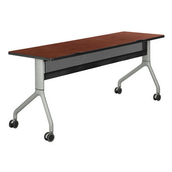 "Safco Rumba™ Rectangle Table, 72"" x 24"", Cherry Top/Metallic Gray Base"
