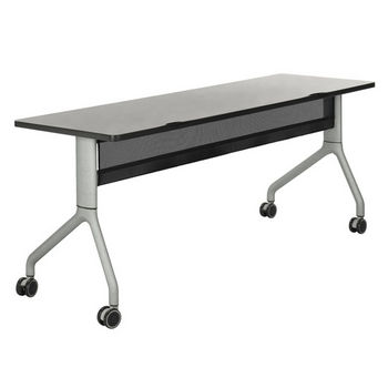 "Safco Rumba™ Rectangle Table, 72"" x 24"", Gray Top/Metallic Gray Base"
