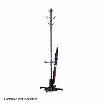 "Safco Coat Rack with Umbrella Stand, Black, 21""W x 21""D x 70""H"