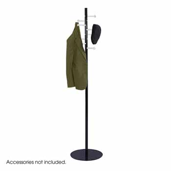 "Safco Spiral Nail Head Coat Rack, Black with Silver, 15""W x 15""D x 67""H"
