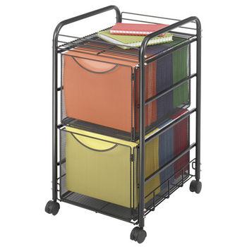 "Safco Onyx File Cart, 2 File Drawers, Mesh, Black, 15-3/4""W x 17""D x 27""H"
