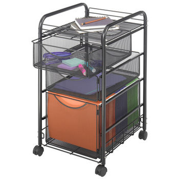 """Safco Onyx File Cart, 1 File Drawer/2 Small Drawers, Mesh, Black, 15-3/4""""W x 17""""D x 27""""H"""