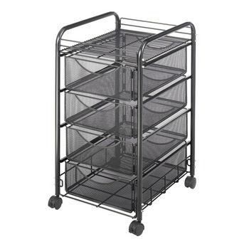 "Safco Onyx File Cart, 4 Drawers, Mesh, Black, 15-3/4""W x 17""D x 27""H"