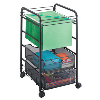 """Safco Onyx Open File with Drawers, Mesh, Black, 15-3/4""""W x 17""""D x 27""""H"""