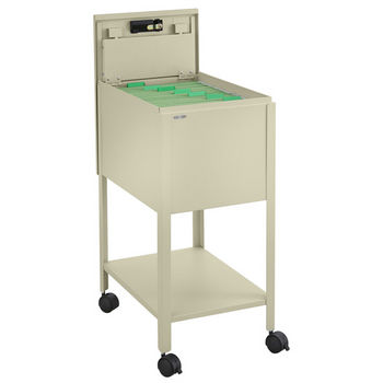 """Safco Standard Mobile Tub File Cart with Lock, Tan, 13-1/2""""W x 19-1/4""""D x 28""""H"""