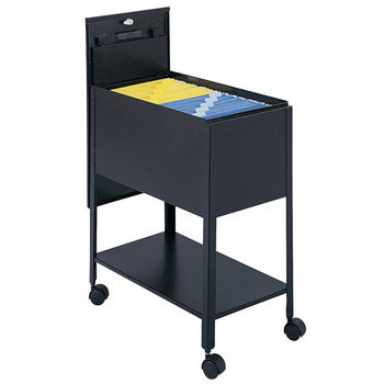 "Safco Extra Deep Mobile Tub File Cart with Lock, Black, 13-1/2""W x 24-3/4""D x 28-1/4""H"