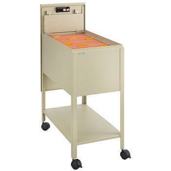 "Safco Extra Deep Mobile Tub File Cart with Lock, Tan, 13-1/2""W x 24-3/4""D x 28-1/4""H"