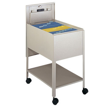 """Safco Extra Deep Mobile Tub File Cart with Lock, Tan, 16-1/2""""W x 24-3/4""""D x 28-1/4""""H"""