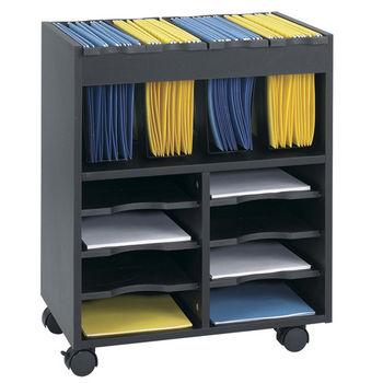 "Safco Go Cart Mobile File Cart, Black, 21-1/2""W x 14-1/2""D x 26-1/4""H"
