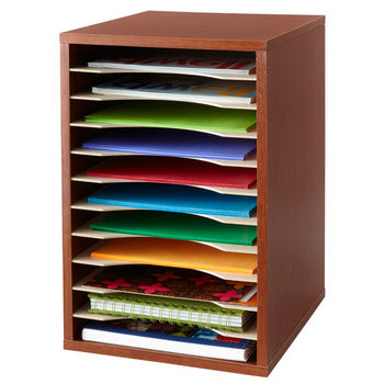 "Safco Desktop Sorter, Vertical, 11 Compartment, Cherry, 10-3/4""W x 12""D x 16""H"