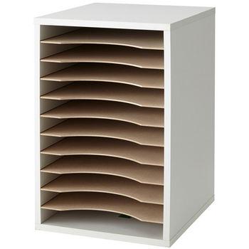"Safco Desktop Sorter, Vertical, 11 Compartment, Gray, 10-3/4""W x 12""D x 16""H"