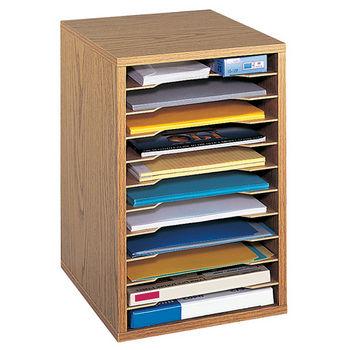 "Safco Desktop Sorter, Vertical, 11 Compartment, Medium Oak, 10-3/4""W x 12""D x 16""H"